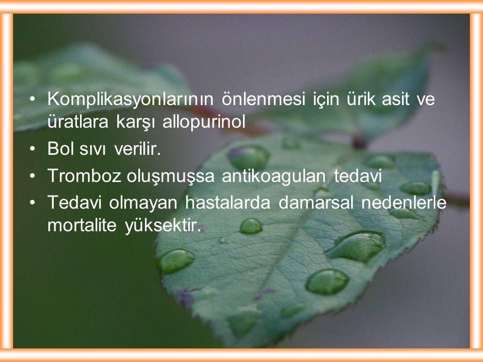Komplikasyonlarının önlenmesi için ürik asit ve üratlara karşı allopurinol