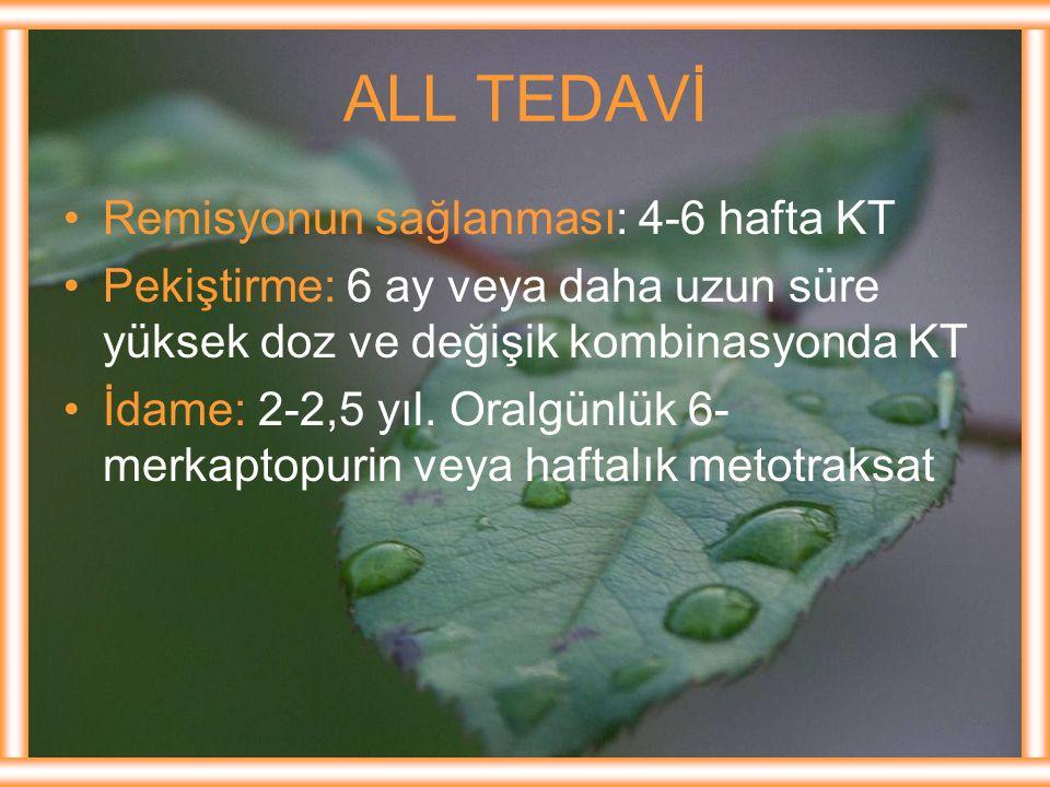 ALL TEDAVİ Remisyonun sağlanması: 4-6 hafta KT
