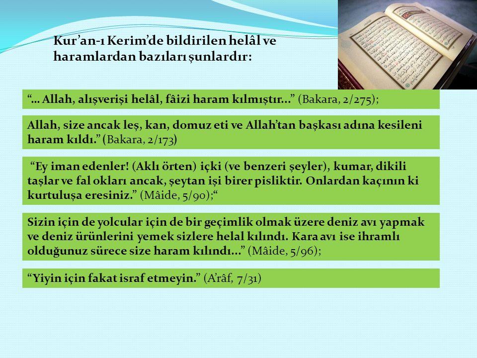 Kur'an-ı Kerim'de bildirilen helâl ve haramlardan bazıları şunlardır: