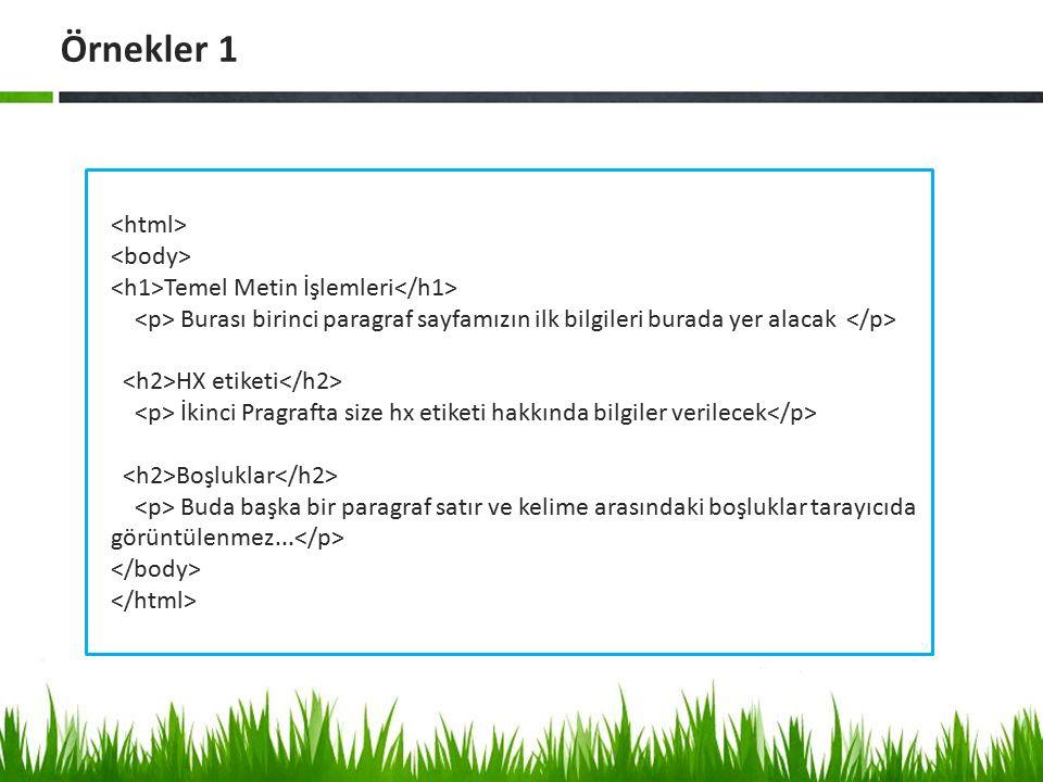 Örnekler 1 <html> <body>