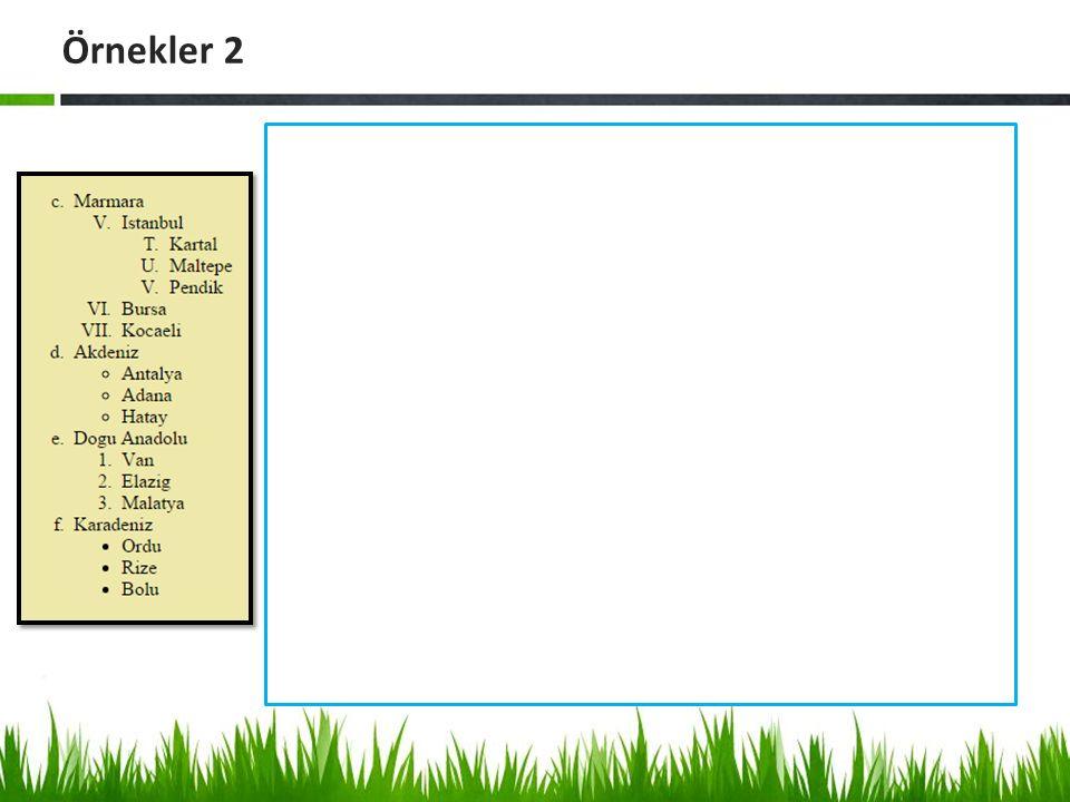 Örnekler 2 <html> <body bgcolor= #EEE8AA >