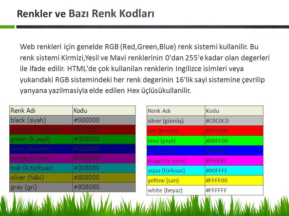 Renkler ve Bazı Renk Kodları