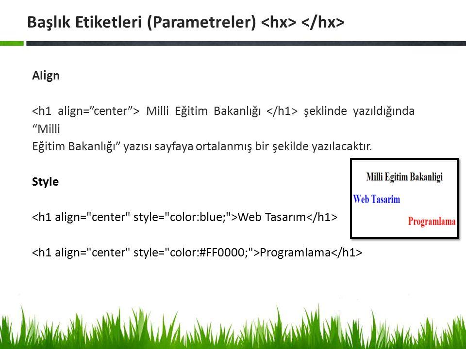 Başlık Etiketleri (Parametreler) <hx> </hx>