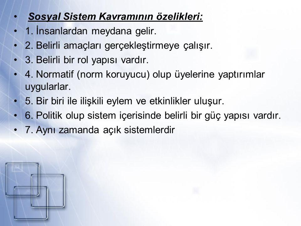 Sosyal Sistem Kavramının özelikleri: 1. İnsanlardan meydana gelir.