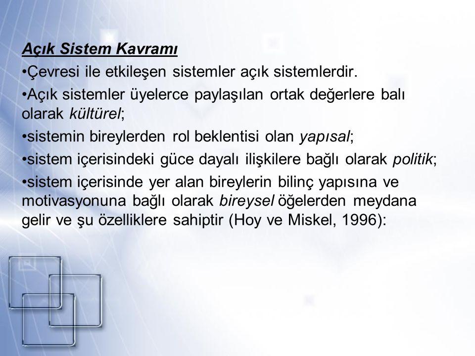 Çevresi ile etkileşen sistemler açık sistemlerdir.