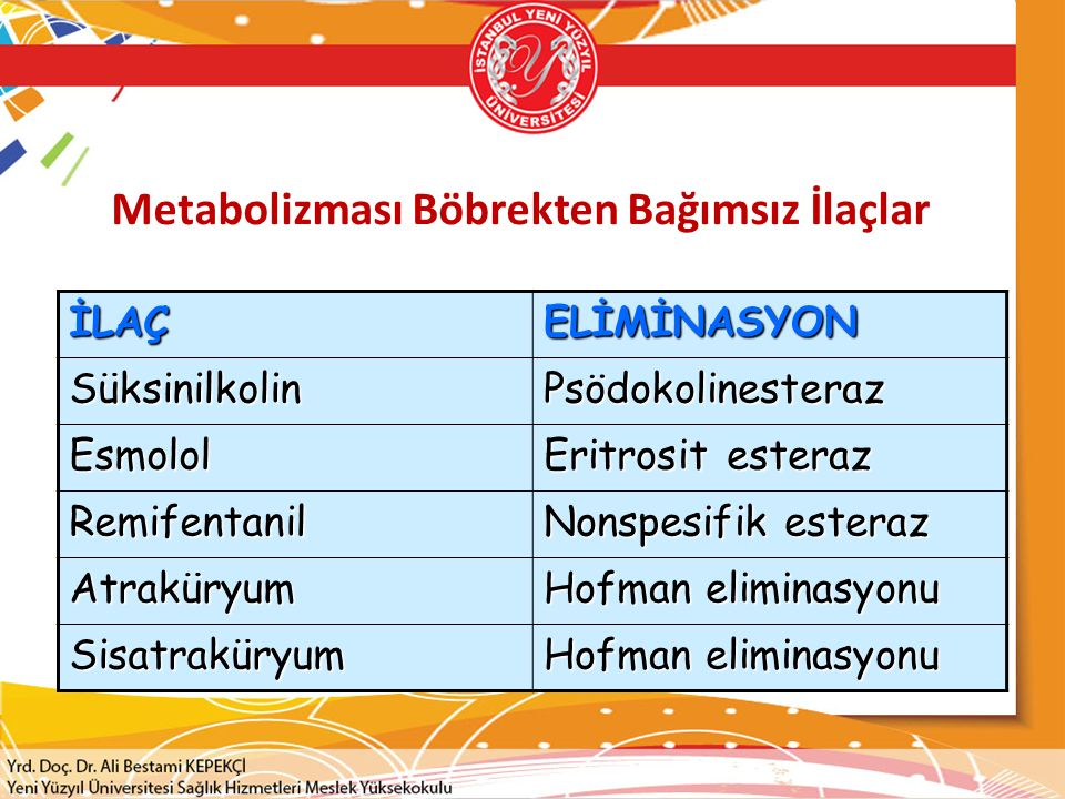 Metabolizması Böbrekten Bağımsız İlaçlar