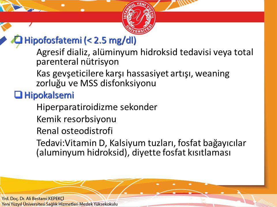 Hipofosfatemi (< 2.5 mg/dl)