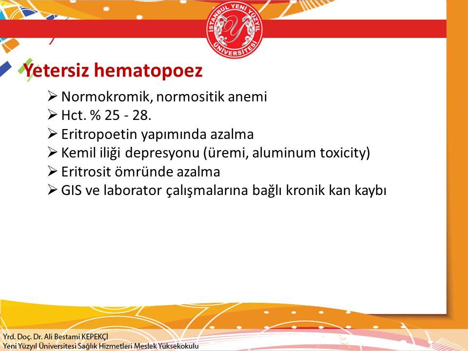 Yetersiz hematopoez Normokromik, normositik anemi Hct. % 25 - 28.