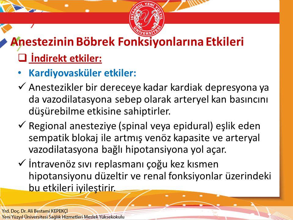 Anestezinin Böbrek Fonksiyonlarına Etkileri