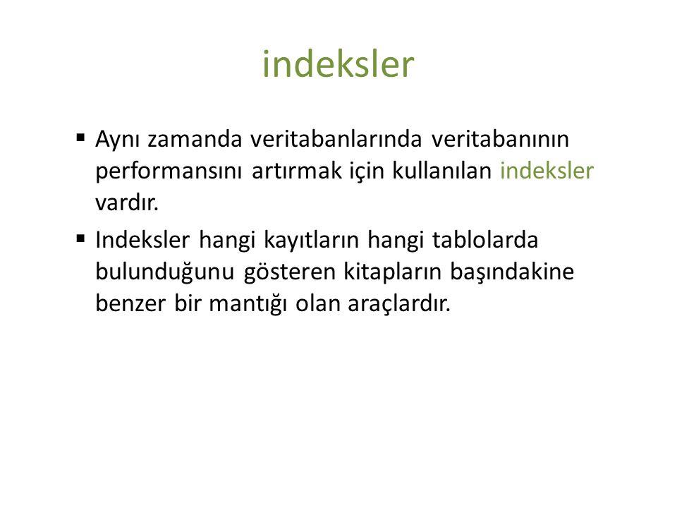 indeksler Aynı zamanda veritabanlarında veritabanının performansını artırmak için kullanılan indeksler vardır.
