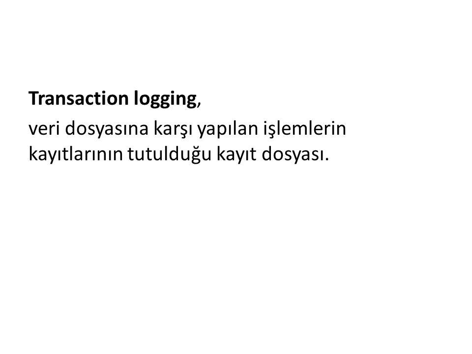 Transaction logging, veri dosyasına karşı yapılan işlemlerin kayıtlarının tutulduğu kayıt dosyası.