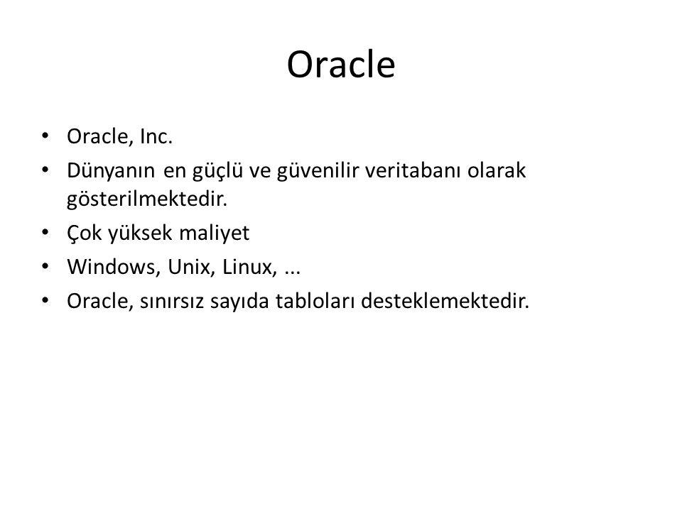 Oracle Oracle, Inc. Dünyanın en güçlü ve güvenilir veritabanı olarak gösterilmektedir. Çok yüksek maliyet.