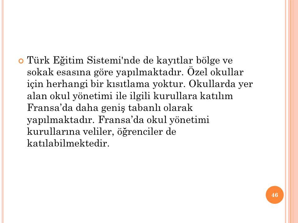 Türk Eğitim Sistemi nde de kayıtlar bölge ve sokak esasına göre yapılmaktadır.