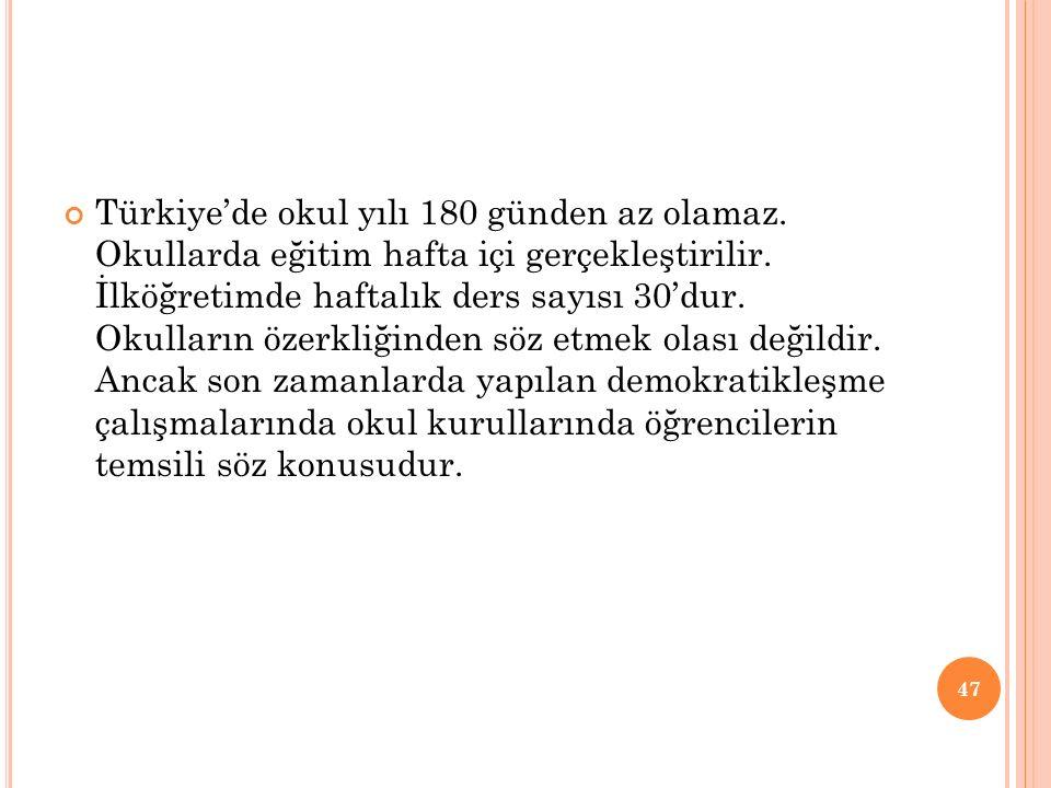 Türkiye'de okul yılı 180 günden az olamaz