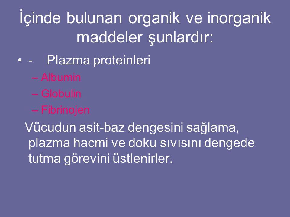 İçinde bulunan organik ve inorganik maddeler şunlardır: