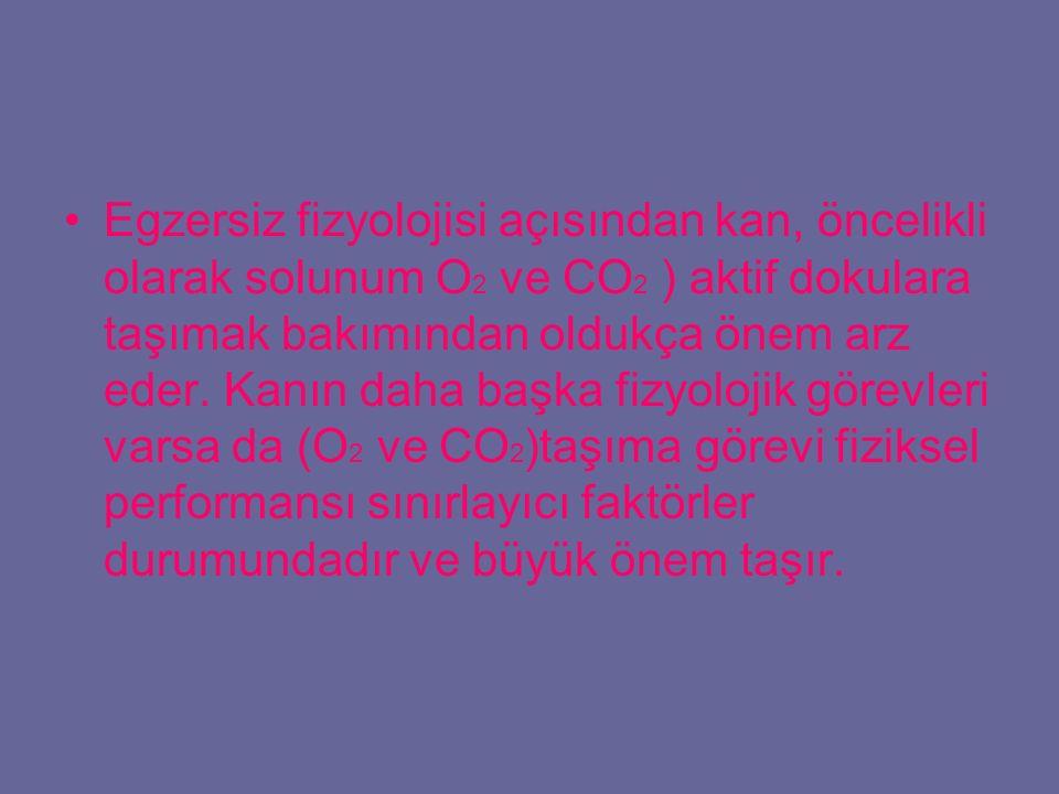 Egzersiz fizyolojisi açısından kan, öncelikli olarak solunum O2 ve CO2 ) aktif dokulara taşımak bakımından oldukça önem arz eder.