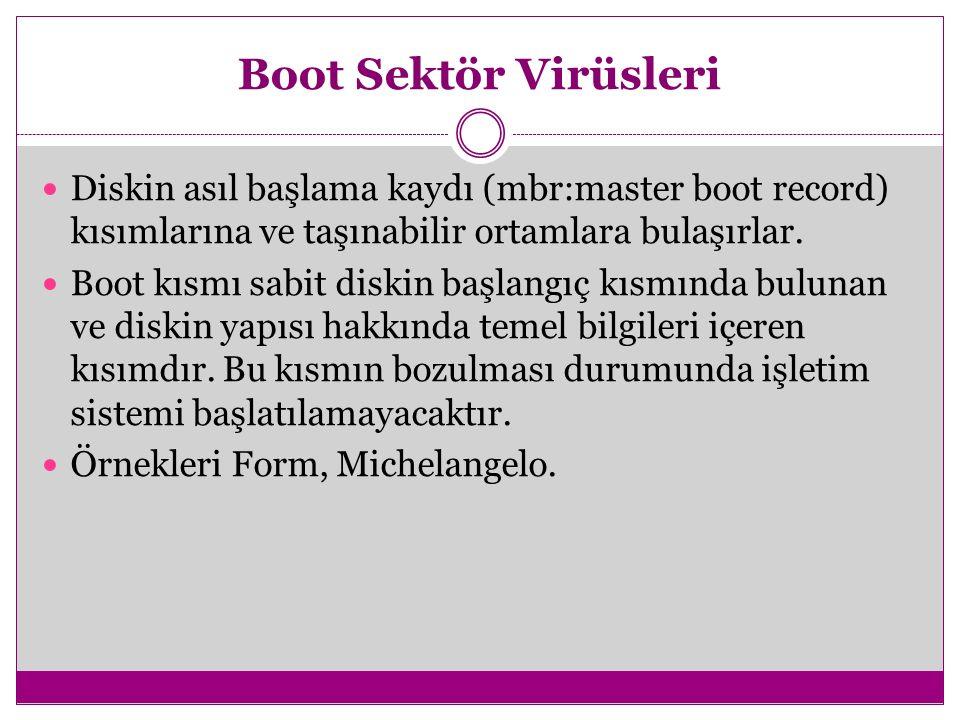 Boot Sektör Virüsleri Diskin asıl başlama kaydı (mbr:master boot record) kısımlarına ve taşınabilir ortamlara bulaşırlar.