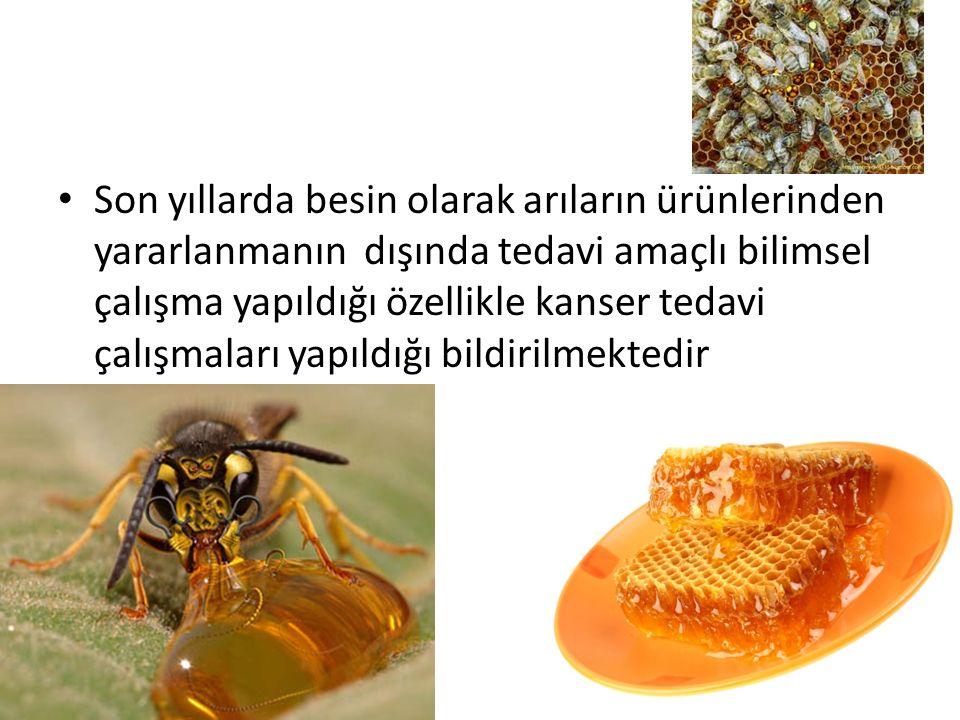 Son yıllarda besin olarak arıların ürünlerinden yararlanmanın dışında tedavi amaçlı bilimsel çalışma yapıldığı özellikle kanser tedavi çalışmaları yapıldığı bildirilmektedir