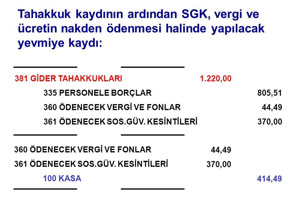 Tahakkuk kaydının ardından SGK, vergi ve ücretin nakden ödenmesi halinde yapılacak yevmiye kaydı: