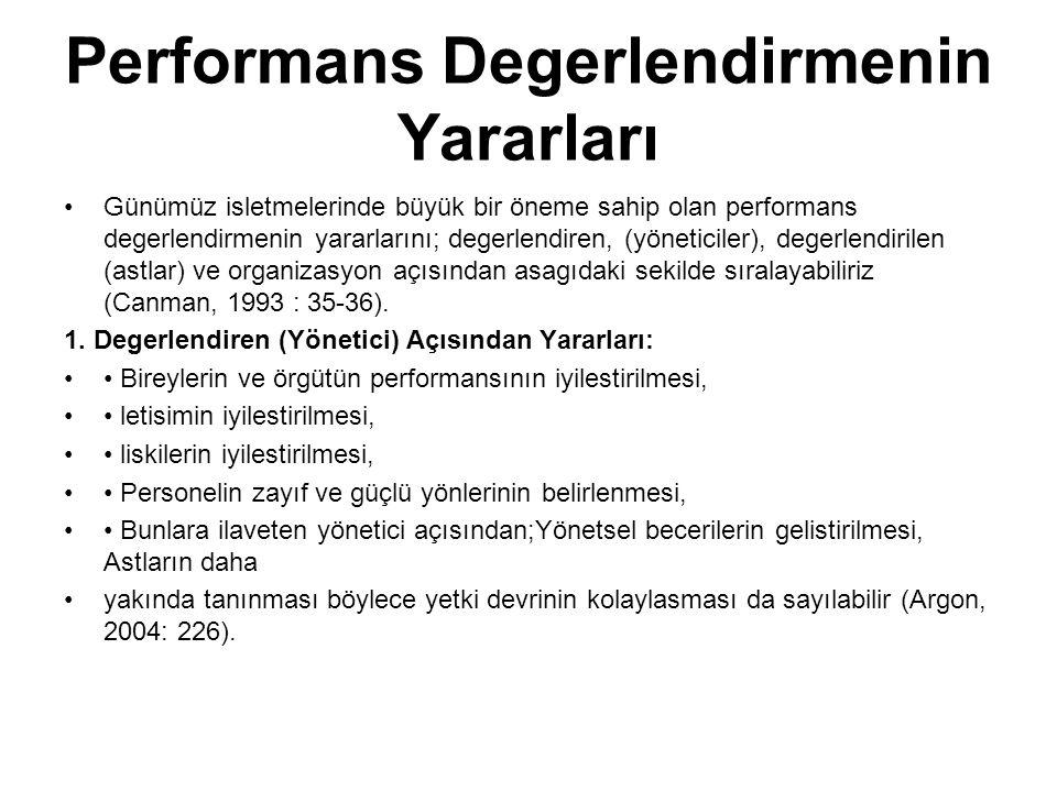 Performans Degerlendirmenin Yararları