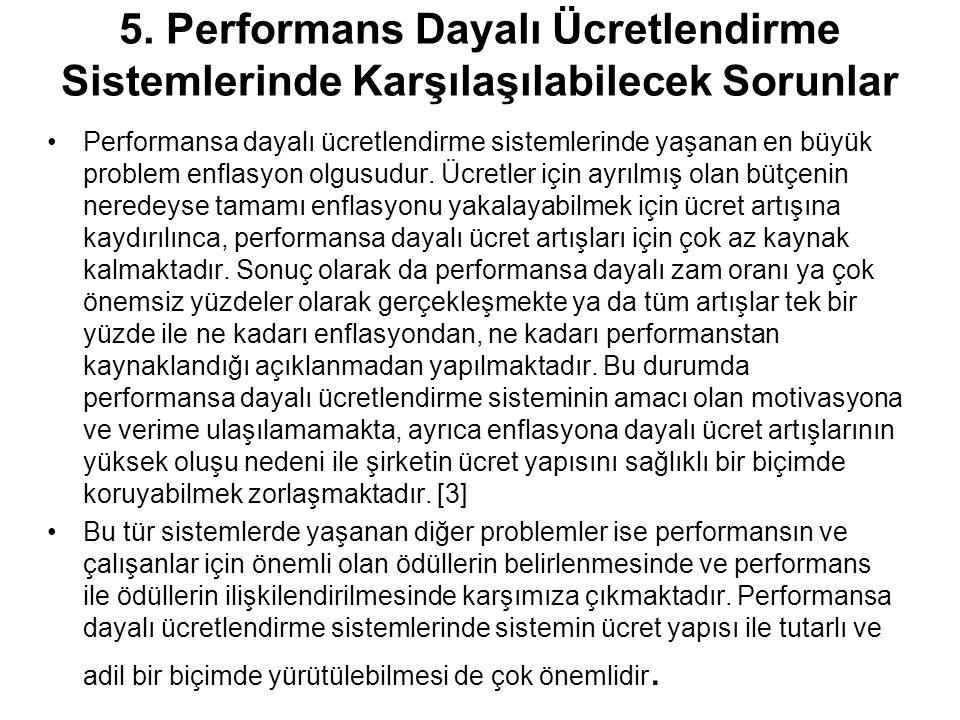 5. Performans Dayalı Ücretlendirme Sistemlerinde Karşılaşılabilecek Sorunlar