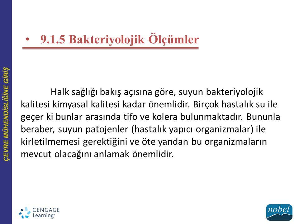 9.1.5 Bakteriyolojik Ölçümler