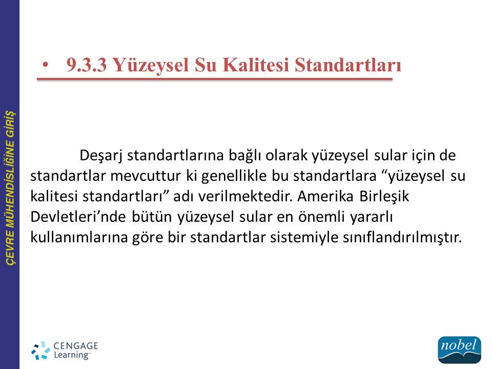 9.3.3 Yüzeysel Su Kalitesi Standartları