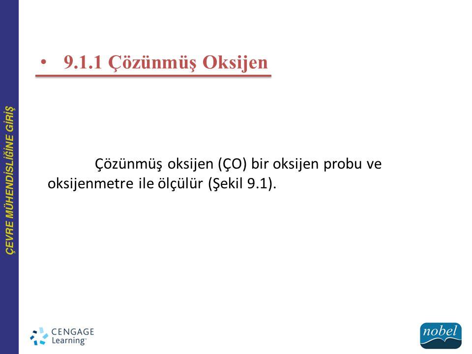 9.1.1 Çözünmüş Oksijen Çözünmüş oksijen (ÇO) bir oksijen probu ve oksijenmetre ile ölçülür (Şekil 9.1).