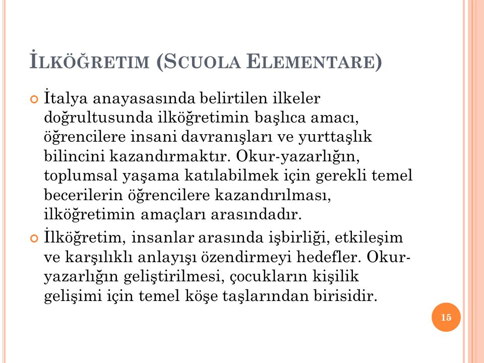 İlköğretim (Scuola Elementare)