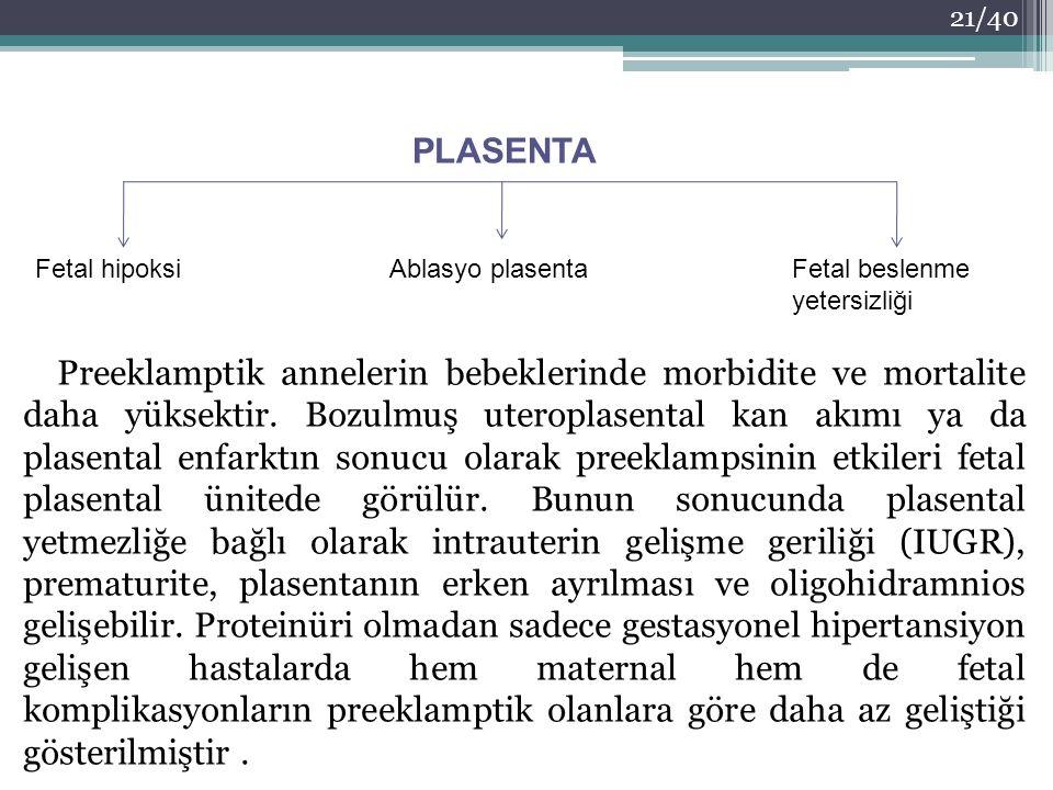 PLASENTA Fetal hipoksi. Ablasyo plasenta. Fetal beslenme yetersizliği.