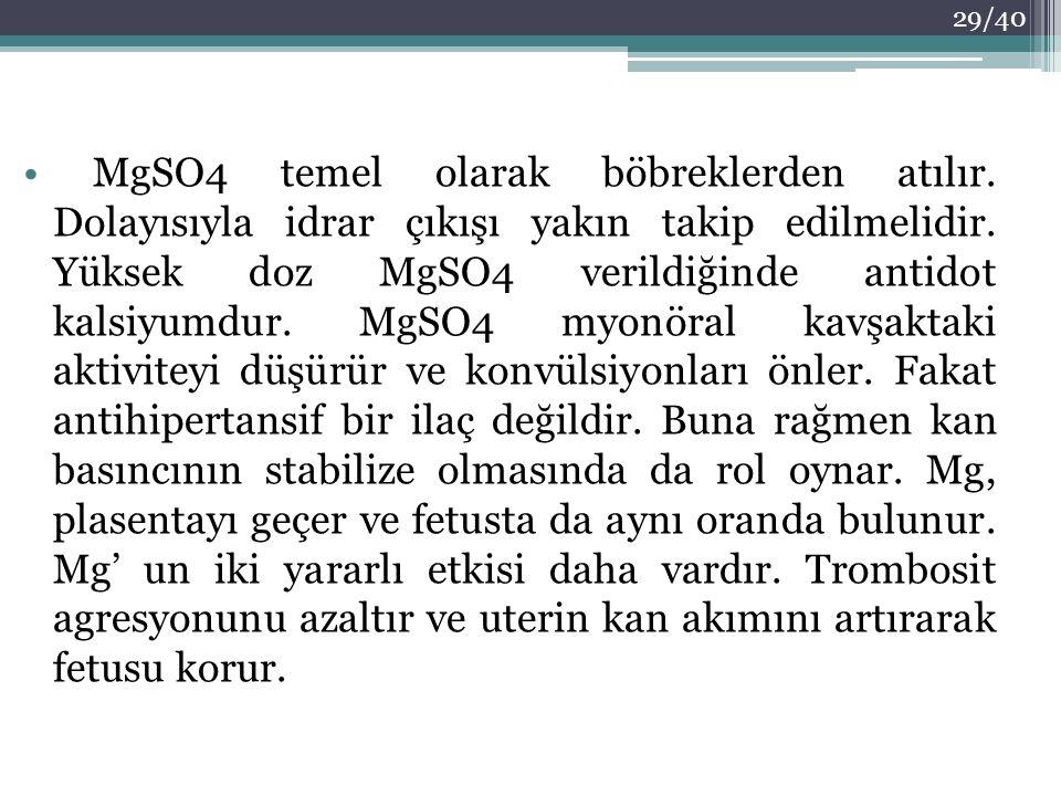 MgSO4 temel olarak böbreklerden atılır