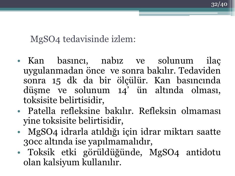 MgSO4 tedavisinde izlem:
