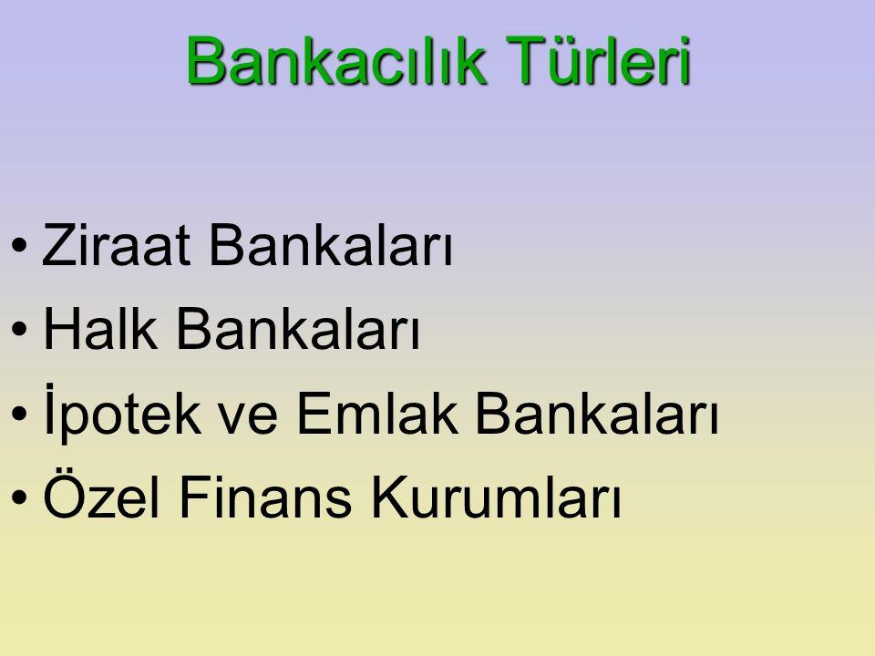 Bankacılık Türleri Ziraat Bankaları Halk Bankaları