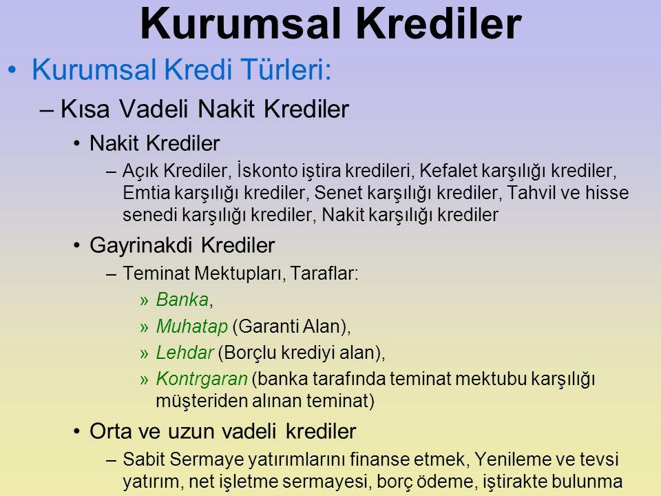 Kurumsal Krediler Kurumsal Kredi Türleri: Kısa Vadeli Nakit Krediler