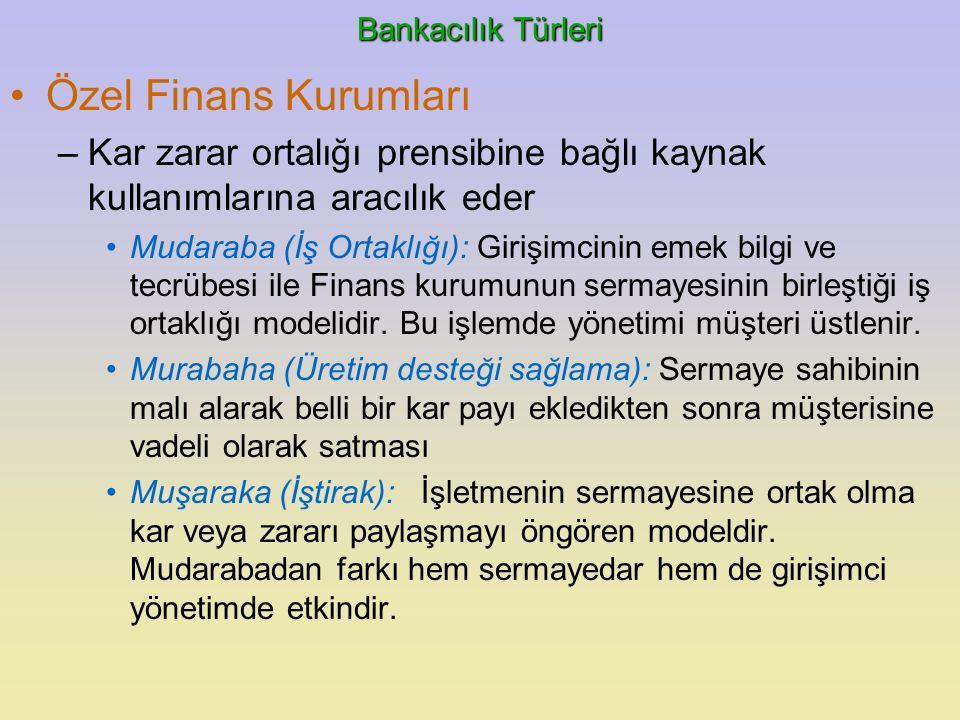 Bankacılık Türleri Özel Finans Kurumları. Kar zarar ortalığı prensibine bağlı kaynak kullanımlarına aracılık eder.