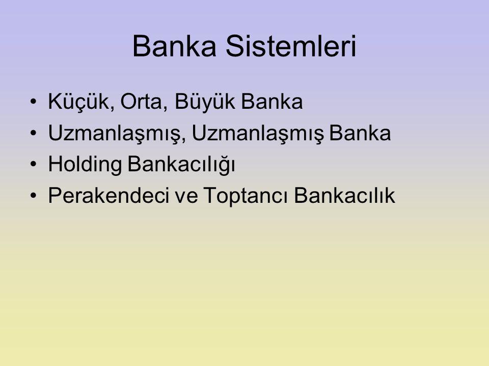 Banka Sistemleri Küçük, Orta, Büyük Banka