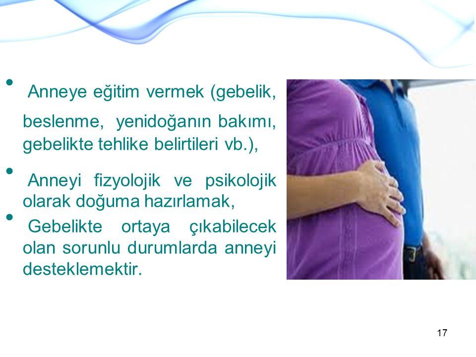 Anneye eğitim vermek (gebelik, beslenme, yenidoğanın bakımı, gebelikte tehlike belirtileri vb.),