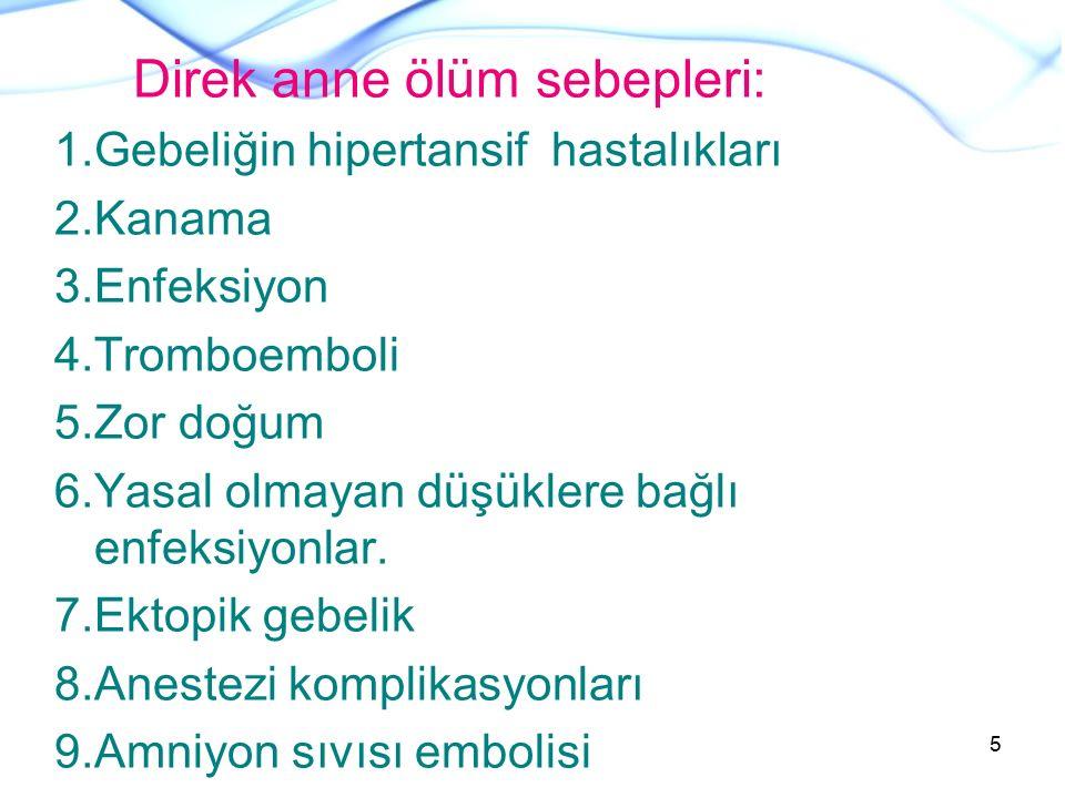 Direk anne ölüm sebepleri: