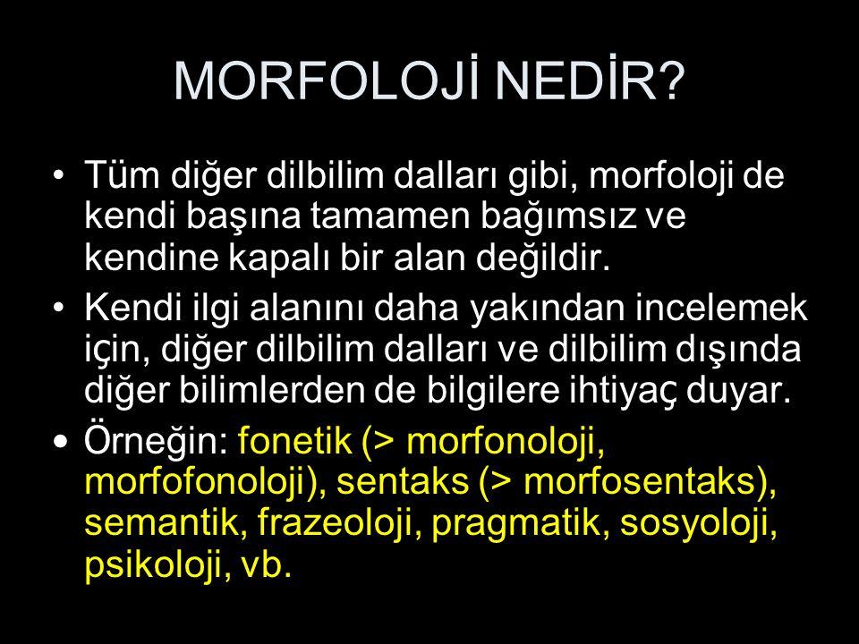 MORFOLOJİ NEDİR Tüm diğer dilbilim dalları gibi, morfoloji de kendi başına tamamen bağımsız ve kendine kapalı bir alan değildir.