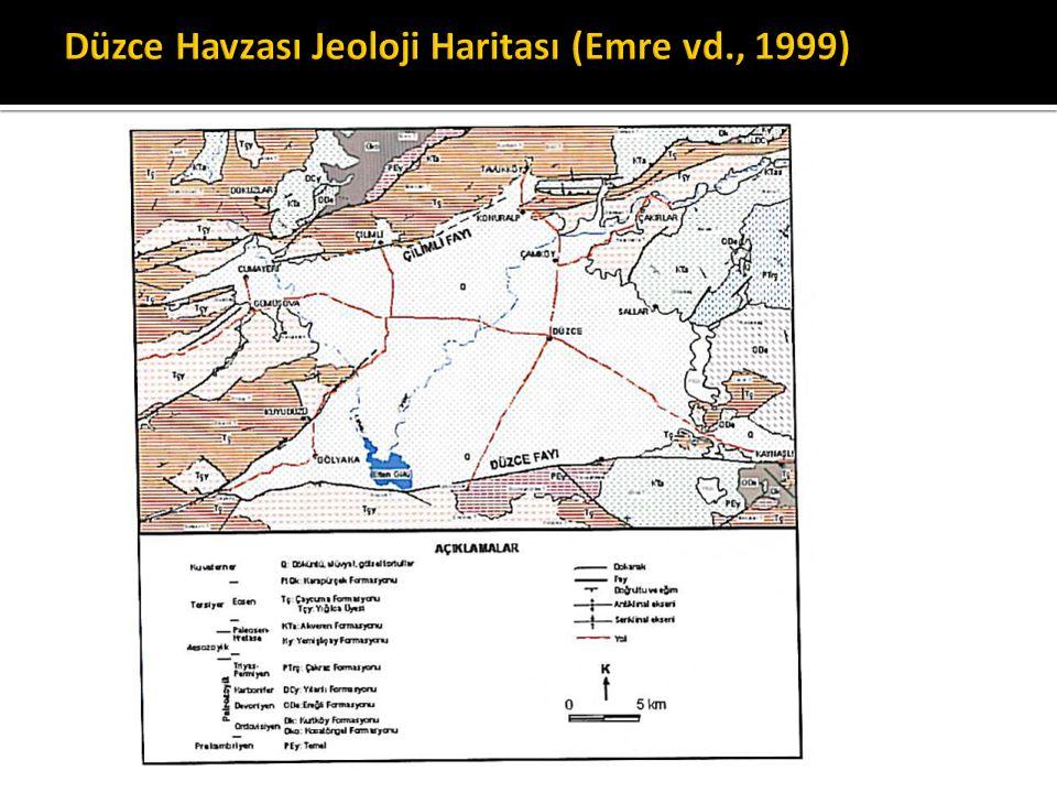 Düzce Havzası Jeoloji Haritası (Emre vd., 1999)