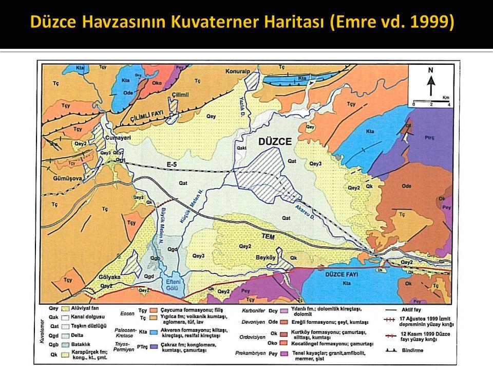 Düzce Havzasının Kuvaterner Haritası (Emre vd. 1999)
