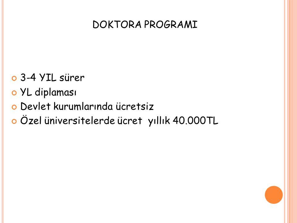 DOKTORA PROGRAMI 3-4 YIL sürer. YL diplaması. Devlet kurumlarında ücretsiz.