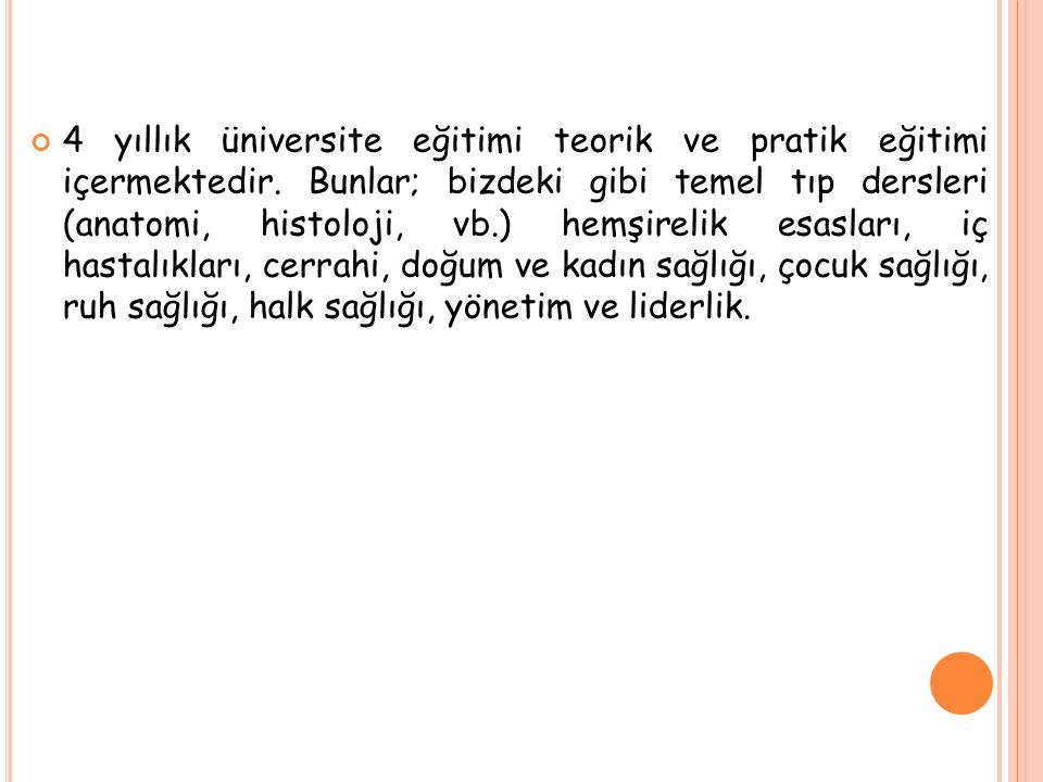 4 yıllık üniversite eğitimi teorik ve pratik eğitimi içermektedir