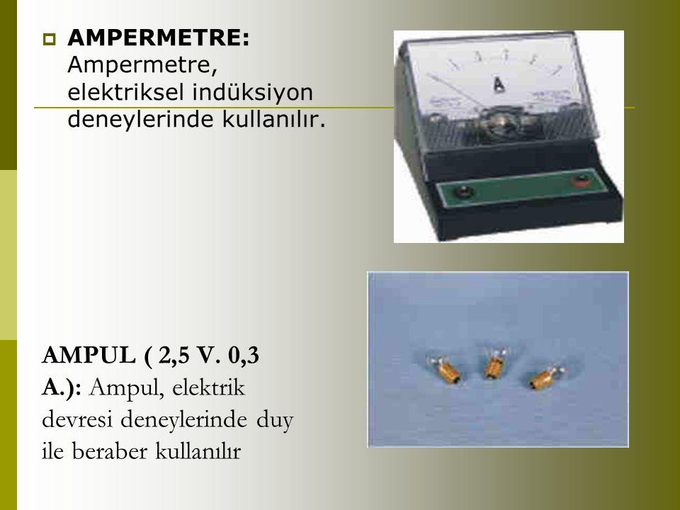 AMPERMETRE: Ampermetre, elektriksel indüksiyon deneylerinde kullanılır.