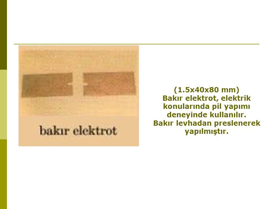 Bakır elektrot, elektrik konularında pil yapımı deneyinde kullanılır.