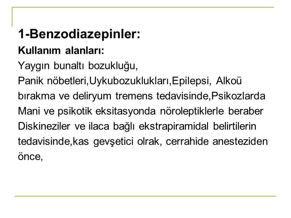 1-Benzodiazepinler: Kullanım alanları: Yaygın bunaltı bozukluğu,