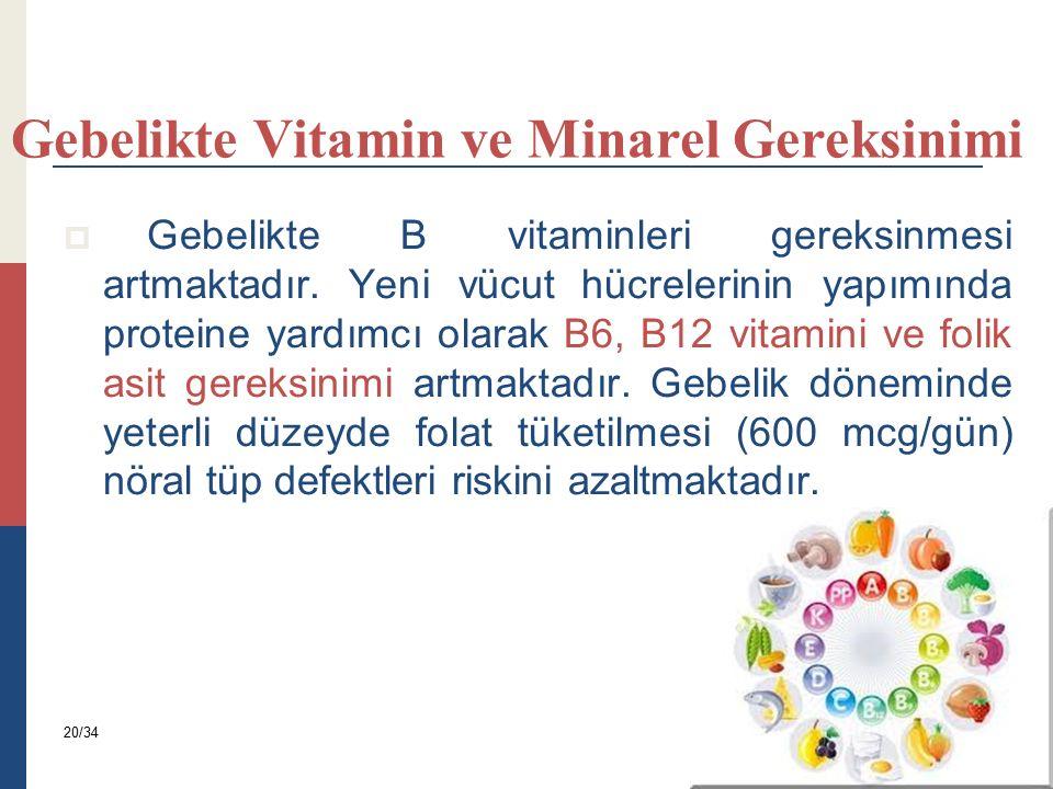 Gebelikte Vitamin ve Minarel Gereksinimi