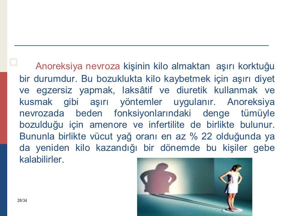 Anoreksiya nevroza kişinin kilo almaktan aşırı korktuğu bir durumdur