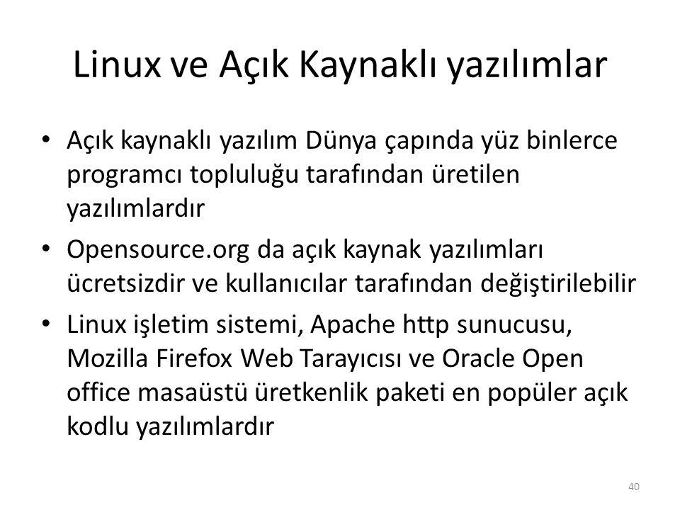 Linux ve Açık Kaynaklı yazılımlar