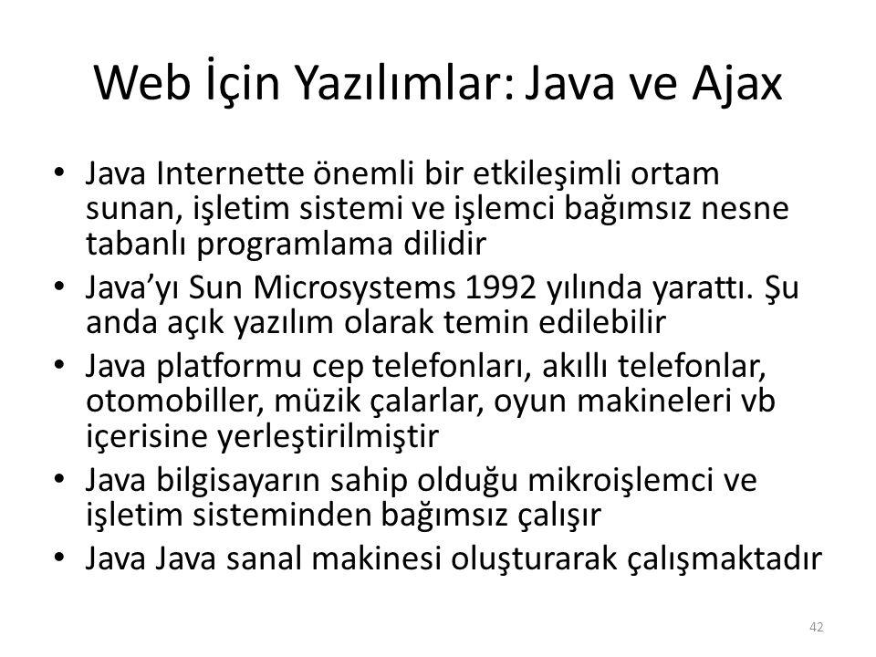 Web İçin Yazılımlar: Java ve Ajax